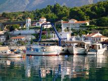 White Greek Fishing Boats Royalty Free Stock Image