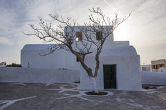 A white Greek house in the center of Oia, Santorini, The Cyclades, Greece Stock Photos