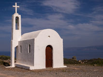 White Greek Orthodox Chapel Royalty Free Stock Photography