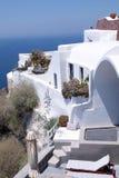 White greek resort house and Aegean sea, Santorini, Greece. Royalty Free Stock Photography