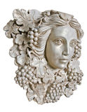 White Greek woman sconce statue. Bust head of a Greek maiden with grapes leaves in statue form royalty free stock photos