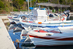 White Greek wooden fishing boats Royalty Free Stock Photography