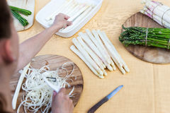 White and green asparagus, topview Stock Photos