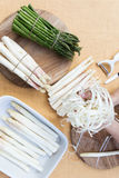 White and green asparagus, topview Royalty Free Stock Images