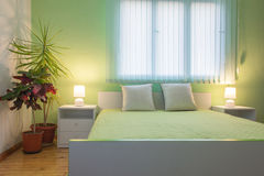 White and green bedroom Stock Image