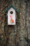 White and green birdhouse with hanging heart made from seeds Stock Images