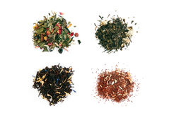 White, Green, Black And Rooibos Tea Stock Images