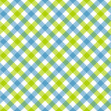 White green blue check plaid fabric texture seamless pattern Royalty Free Stock Photo