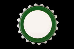 Bottle cap. White green bottle cap isolated on white background with clipping path Stock Image