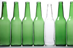 White and green bottles Stock Photo