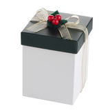 White and green box with gold bow Stock Photos