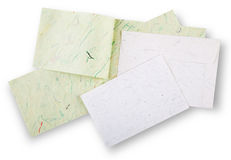 White and green cards and envelope. Stock Images