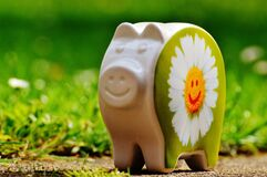 White and Green Ceramic Pig Decor Royalty Free Stock Image