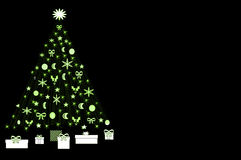 White and Green Christmas Tree. Isolated Christmas tree decorated with white ornaments with wrapped presents under the tree Royalty Free Illustration