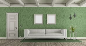White and green classic living room. With leather sofa and closed door - 3d rendering Royalty Free Stock Photography