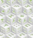 White green cubes isometric seamless pattern. Vector tileable background. Blockchain technology concept stock illustration