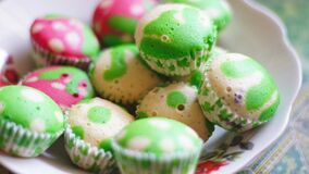 White and Green Cupcake Royalty Free Stock Photography