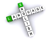 English language crossword. White and green 3D blocks spelling English language in crossword puzzle style Stock Photo