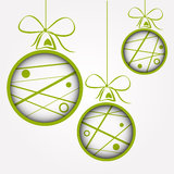 White green dotted scribbled christmas balls Stock Photo