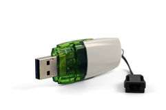 White and green flash drive Stock Photo