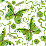 White-green floral pattern Stock Image
