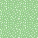 White on green hand drawn Irish shamrocks background in a stylized modern style. Vector seamless pattern royalty free stock photography
