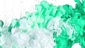 White and Green Ink in Water