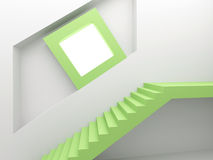 White green interior with  stairway and screen Stock Photo