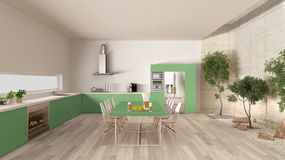 White and green kitchen with inner garden, minimal interior desi Royalty Free Stock Images