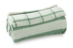 White and Green Kitchen Towel on White Background Royalty Free Stock Photos