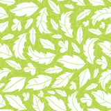 White on green leaves silhouettes seamless pattern Royalty Free Stock Image