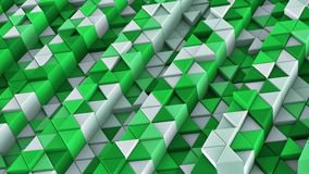 White and green linear extruded triangles abstract 3D render. White and green linear extruded triangles. Abstract geometric background. 3D render illustration Royalty Free Stock Photo