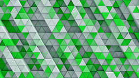 White and green linear extruded triangles 3D render. White and green linear extruded triangles. Abstract geometric background. 3D render illustration Royalty Free Stock Photo