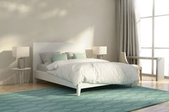 White and green luxury bedroom. With armchair and rug Stock Photography