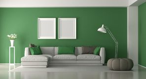 White and green modern living room Royalty Free Stock Photos