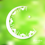 White Green Origami Crescent Moon with Mosque. Ramadan Kareem Greeting card. Stock Photography