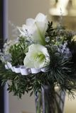 White green original flower bouquet with Amaryllis closeup Stock Images