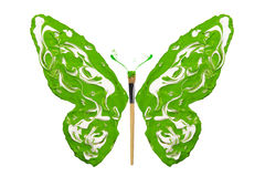 White and green paint made butterfly Royalty Free Stock Photo