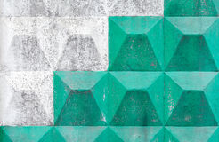 White and green pattern on concrete fence Royalty Free Stock Images