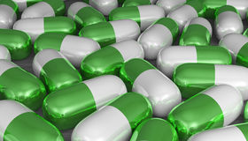 White and green pills Stock Image
