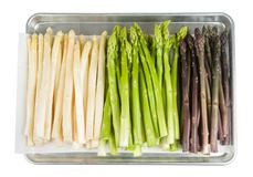 White, green and purple asparagus Royalty Free Stock Photo