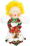 White, Green and Red Christmas Angel Doll on White Background Stock Photography