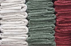 White Green and Red Towels Stock Image