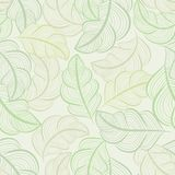 White and green seamless leaves wallpaper. Pattern. Seamless wrapping paper, textile or upholstery print Stock Image