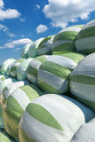 White green silage bales Royalty Free Stock Photography