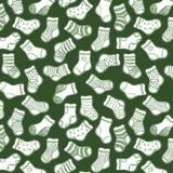 White on green socks seamless pattern Stock Photo