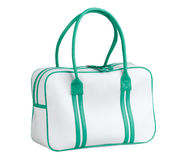 White and green sport bag. On white background Stock Images