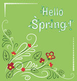 White-green spring postal. Green spring post card with gentle flowers royalty free illustration