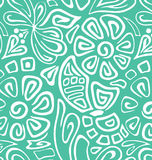 White-green spring seamless. Green spring seamless with gentle flowers vector illustration