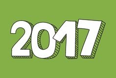 2017 white and greenery green vector sign. New Year 2017 hand drawn white and greenery green vector sign Royalty Free Stock Photography